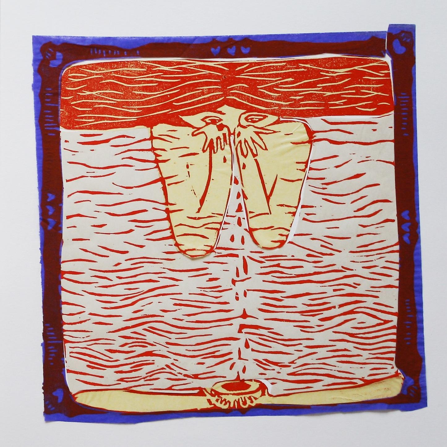 femme cadre caroline wehbe engraving wood art drawing color